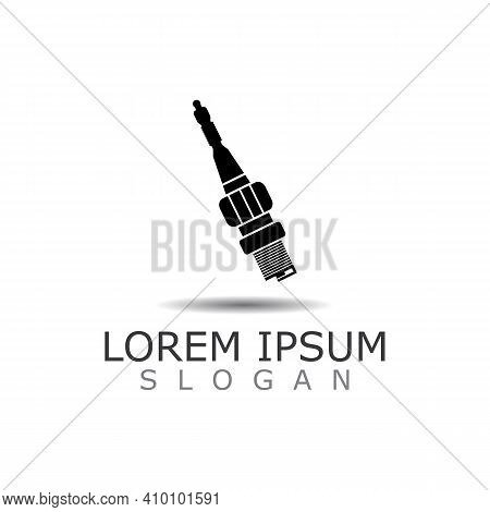 Spark Plug Icon Auto Car. The Spare Part For An Internal Combustion Engine Vector Design