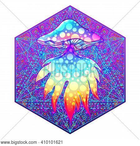Magic Mushrooms. Psychedelic Hallucination. Vibrant Vector Illustration.