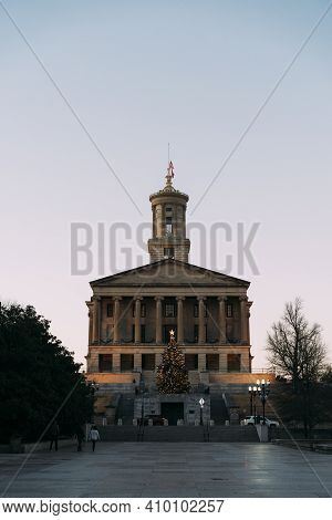 Tennessee State Capitol Building And Mall During Christmas, In The Evening Light From Vertical Persp