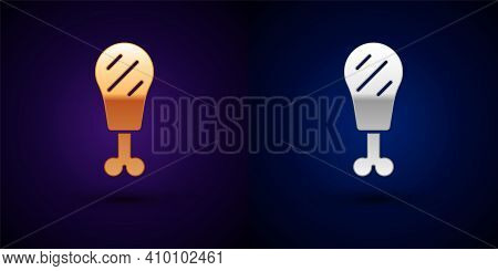 Isometric Chicken Leg Icon Isolated On Orange And Pink Background. Chicken Drumstick. Hexagon Button