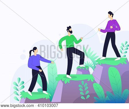Worker Helping Each Other For Business Group Illustration Concept Vector, Team Work, Helping Each Ot