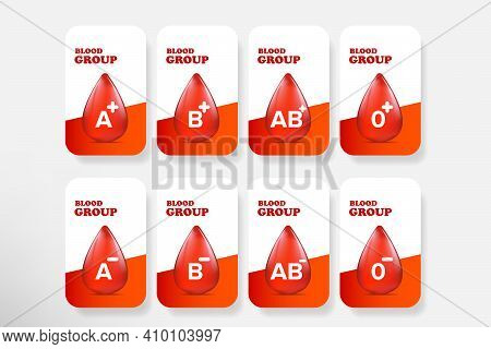 Vector Blood Group Banner Set With Red Blood Drop. Different Blood Types Collection. Blood Test Desi