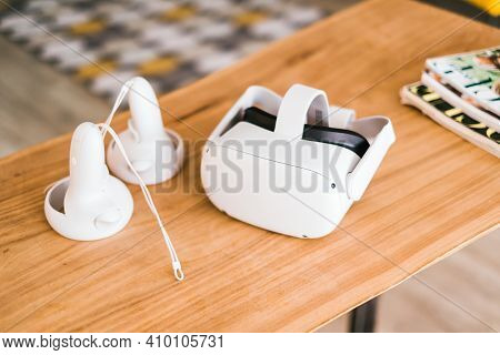 Oculus Quest 2 Virtual Reality Headset With Controllers. Rostov-on-don, Russia. 19 February 2021