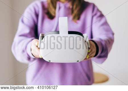 Oculus Quest 2 Virtual Reality Headset In Hands. Rostov-on-don, Russia. 19 February 2021
