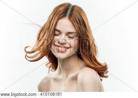 Cheerful Woman Attractive Look Naked Shoulders Loose Hair Light Background