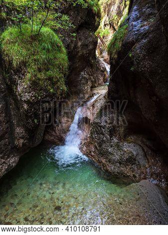 Gorge Almbachklamm In The Berchtesgaden Alps, Germany.