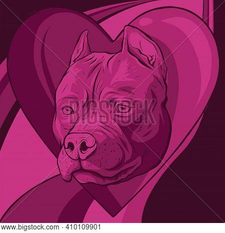 Pitbull Head Dog In Heart Vector Illustration