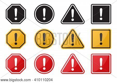 Set Of Hazard Warning Attention Sign. Vector Illustration