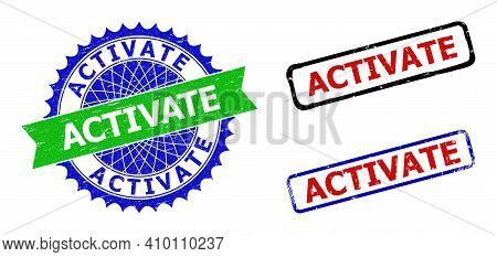 Bicolor Activate Stamps. Green And Blue Activate Stamp With Sharp Rosette And Ribbon Elements. Round