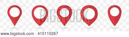 Set Of Red Map Pointers Icon In A Flat Design