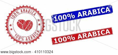 Rectangle And Round 100 Percent Arabica Seal Stamps With Icon Inside. Blue And Red Grunge Seal Stamp