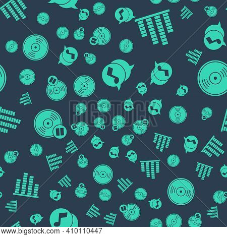 Set Musical Note In Speech Bubble, Music Equalizer, Vinyl Disk And Vinyl Disk On Seamless Pattern. V