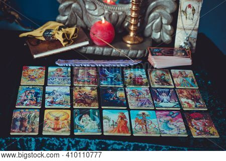 Concept Of Tarot Cards Predictions ,and Other Old European Magic. Europe, Romania. Transylvania Febr