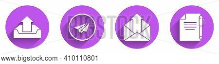 Set Upload Inbox, Paper Plane, Outgoing Mail And Document And Pen Icon With Long Shadow. Vector
