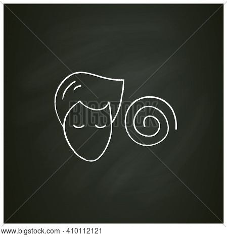 Hypnosis Chalk Icon. Absorbed Or Meditating Person With Hypnotic Helix .psychotherapy, Hypnosis, Min
