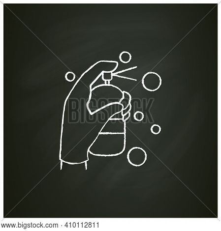 Cleaning Sprayer Chalk Icon.detergent, Cleanser, Sanitizer.housekeeper Hand With Bottle Pictogram. W