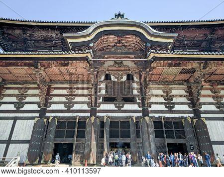 Nara, Japan - April 15, 2018: Ancient Buddhist Temple Todai-ji, Nara. Todai-ji Temple Is Considered