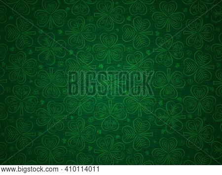 Green Patrick's Day Greeting Background With Green Clovers. Patrick's Day Holiday Design. Horizontal