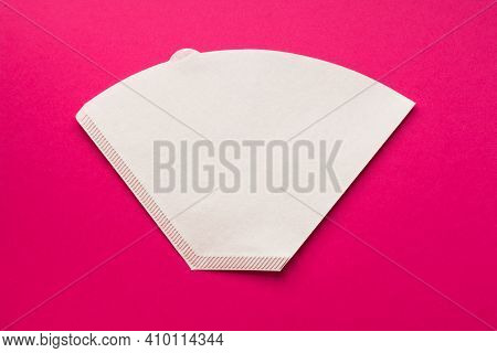 Bleached Paper Coffee Filter For Immersion Brewing Isolated On A Colored Pink Background. Alternativ