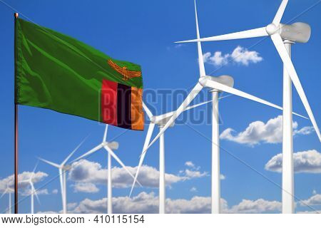 Zambia Alternative Energy, Wind Energy Industrial Concept With Windmills And Flag - Alternative Rene