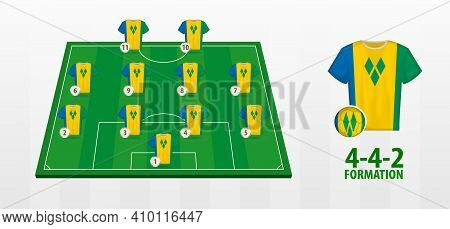Saint Vincent And The Grenadines National Football Team Formation On Football Field. Half Green Fiel