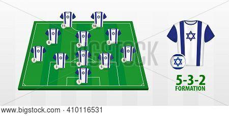 Israel National Football Team Formation On Football Field. Half Green Field With Soccer Jerseys Of I