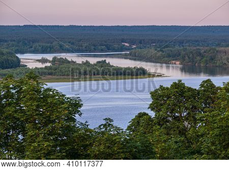 Dnipro River Summer Evening View From Taras Hill Or Chernecha Hora (monk Hill - Important Landmark O