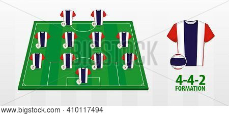Thailand National Football Team Formation On Football Field. Half Green Field With Soccer Jerseys Of