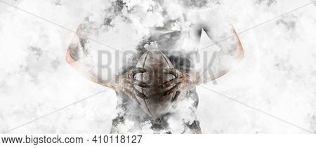 Man rugby player holds ball on white smoke background. Sports banner. Horizontal copy space background