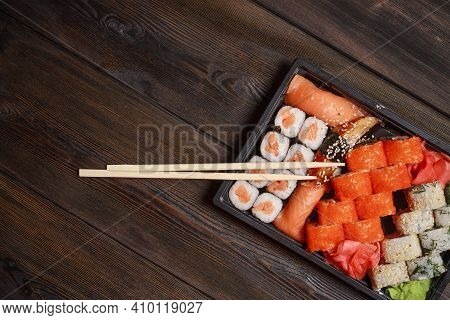 Sushi Rolls Delicacy Japanese Cuisine Meal Wooden Table