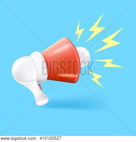 Vector 3d Red Megaphone Icon Isolated On Blue Background. Cartoon Loudspeaker Or Hand Speaker Label
