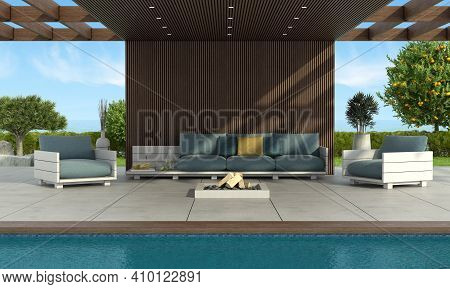 Modern Sofa And Armchairs By The Pool Under A Wooden Roof, With Brazier And Garden On Background - 3