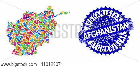 Afghanistan Map Template. Blot Collage And Corroded Stamp Seal For Afghanistan Map. Sharp Rosette Bl