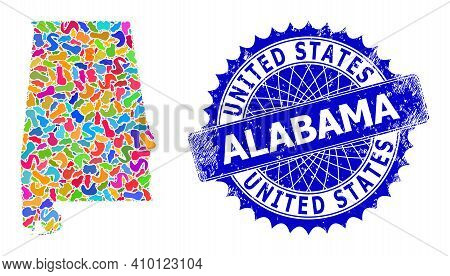 Alabama State Map Vector Image. Splash Collage And Scratched Stamp For Alabama State Map. Sharp Rose