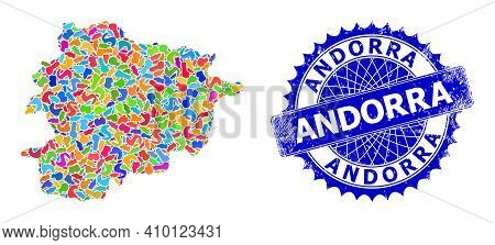 Andorra Map Template. Blot Mosaic And Unclean Stamp Seal For Andorra Map. Sharp Rosette Blue Stamp S