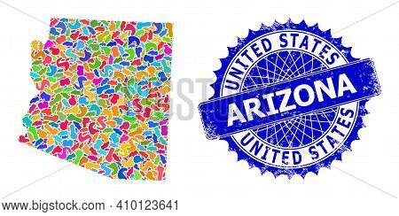 Arizona State Map Abstraction. Splash Mosaic And Distress Seal For Arizona State Map. Sharp Rosette