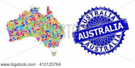 Australia Map Abstraction. Splash Pattern And Grunge Stamp Seal For Australia Map. Sharp Rosette Blu