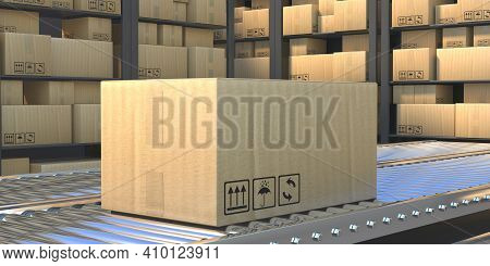 Cardboard Box On The Conveyor Belt. 3D Illustration