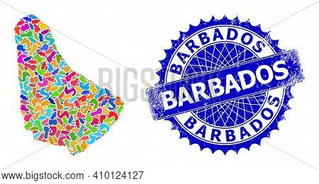 Barbados Map Abstraction. Blot Mosaic And Scratched Stamp Seal For Barbados Map. Sharp Rosette Blue
