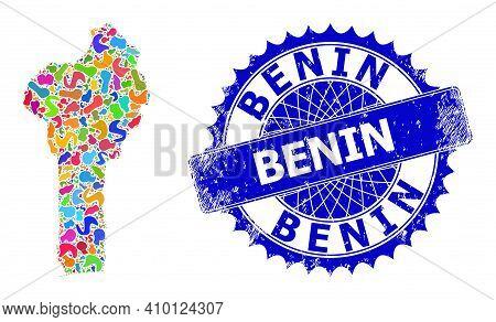 Benin Map Vector Image. Blot Collage And Unclean Badge For Benin Map. Sharp Rosette Blue Stamp Seal