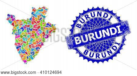 Burundi Map Vector Image. Splash Collage And Unclean Stamp Seal For Burundi Map. Sharp Rosette Blue