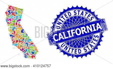 California State Map Flat Illustration. Splash Mosaic And Unclean Stamp Seal For California State Ma
