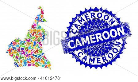 Cameroon Map Vector Image. Blot Mosaic And Distress Stamp Seal For Cameroon Map. Sharp Rosette Blue