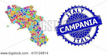 Campania Region Map Vector Image. Spot Collage And Distress Stamp Seal For Campania Region Map. Shar