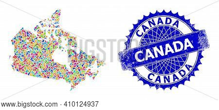 Canada Map Template. Splash Collage And Rubber Stamp Seal For Canada Map. Sharp Rosette Blue Stamp W