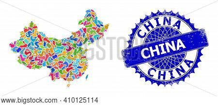 China Map Vector Image. Blot Pattern And Distress Stamp For China Map. Sharp Rosette Blue Stamp Seal