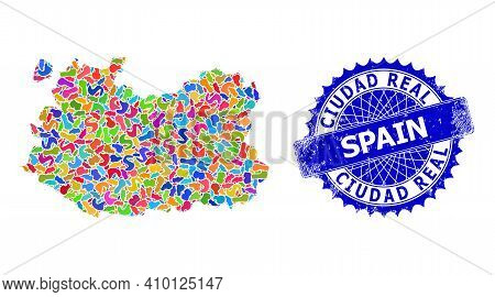 Ciudad Real Province Map Abstraction. Blot Pattern And Unclean Stamp For Ciudad Real Province Map. S