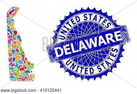 Delaware State Map Template. Blot Mosaic And Rubber Stamp Seal For Delaware State Map. Sharp Rosette