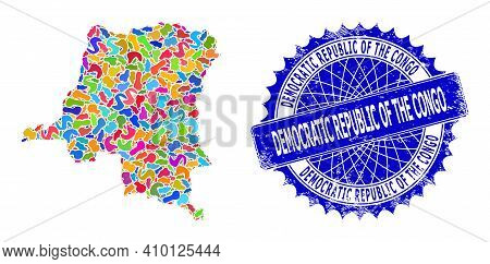 Democratic Republic Of The Congo Map Abstraction. Spot Pattern And Corroded Badge For Democratic Rep