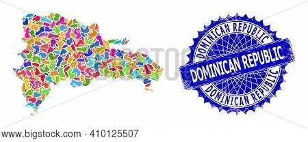 Dominican Republic Map Flat Illustration. Blot Mosaic And Unclean Seal For Dominican Republic Map. S